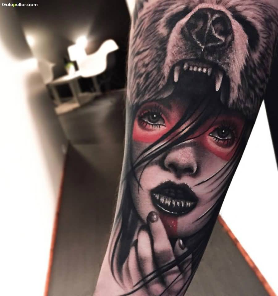 3d arm tattoos for Girl head tattoo