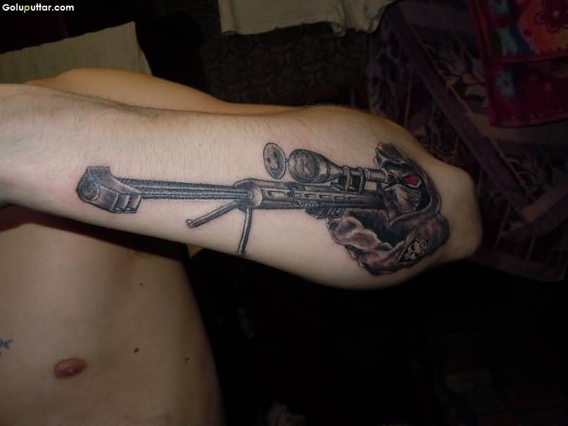 Man Arm Decorated With Nice Army Sniper Gun Tattoo