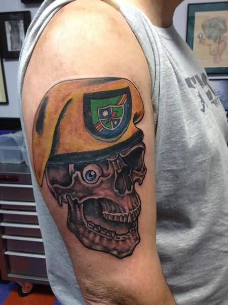 man show scary army skull tattoo on sleeve photos and ideas. Black Bedroom Furniture Sets. Home Design Ideas