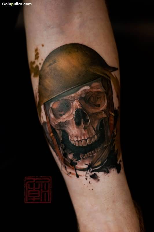 Man Shoulder Decorated With Marvelous Army Skull And Knife