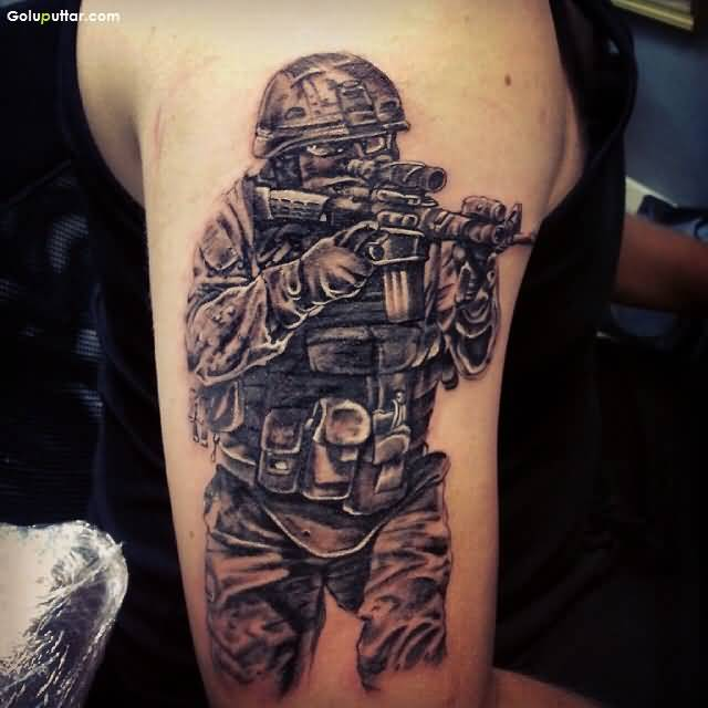 Man Sleeve Decorated With Passionate Army Sniper Men Tattoo