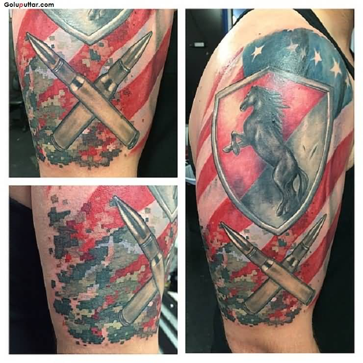 53 Marvelous Quotes Shoulder Tattoos: Marvelous Tattoo Of Army Infantry With Bullets And Horse