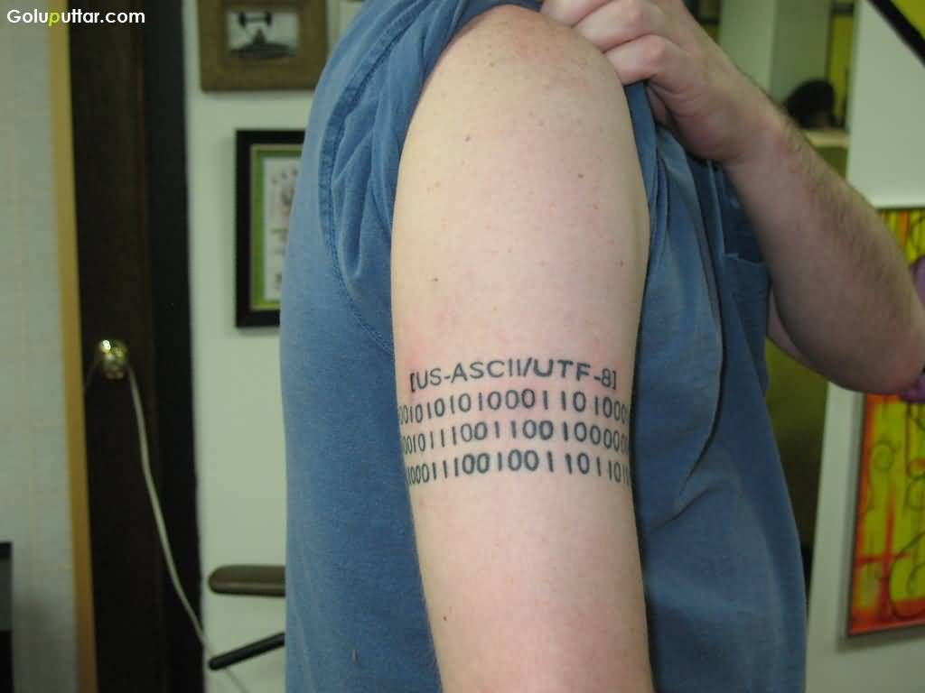 Men Arm Cover Up With Marvelous Ascii Code Armband Tattoo