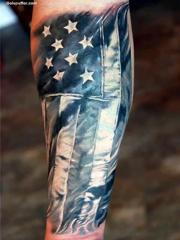 Men Arm Cover Up With  Perfect Old Army Flag Tattoo