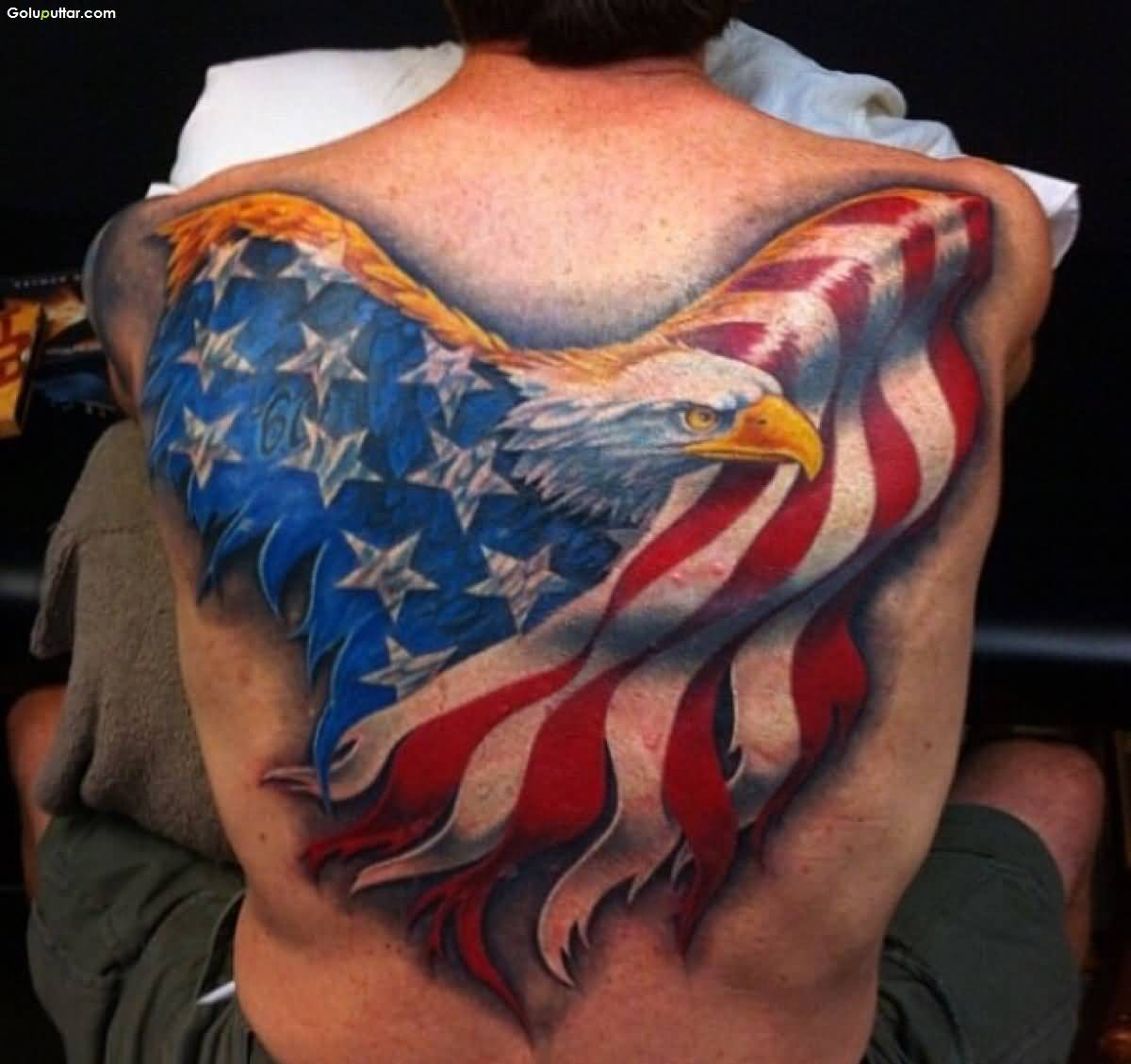 Men Back Cover Up With Fabulous Eagle And Army Flag Tattoo