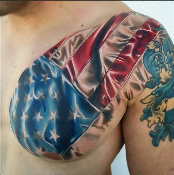 Men chest cover up with awesome army flag tattoo photos for Chest cover up tattoos