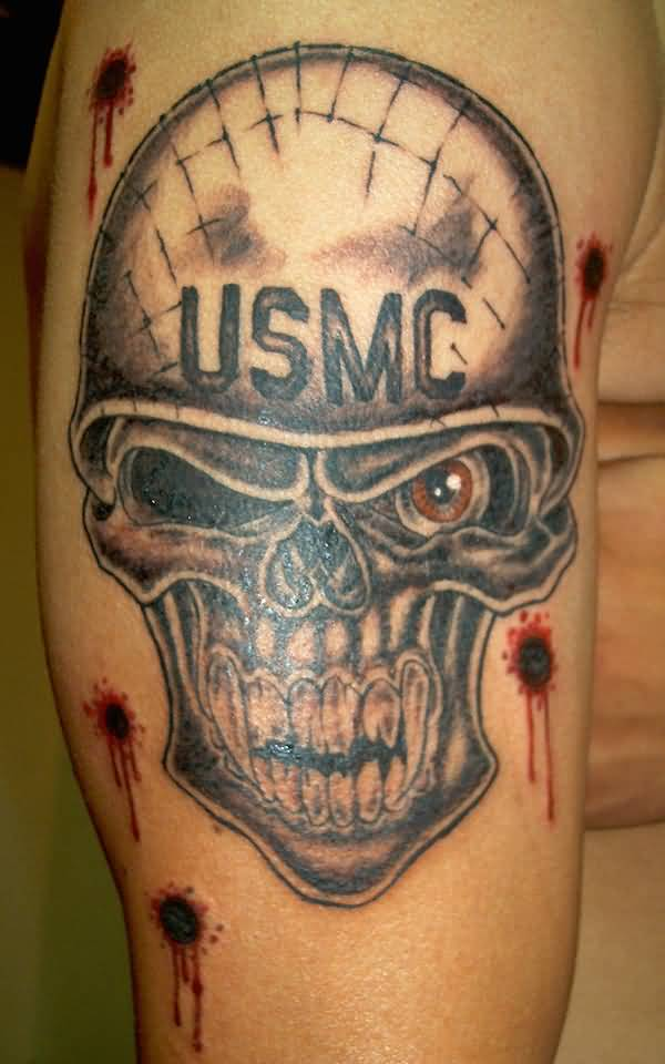 Men Show Terrific US Army Skull Tattoo  With Bullet Signs