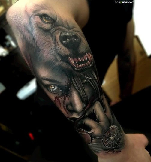Mind Blowing 3D Arm Tattoo Of Girl And Bear Face