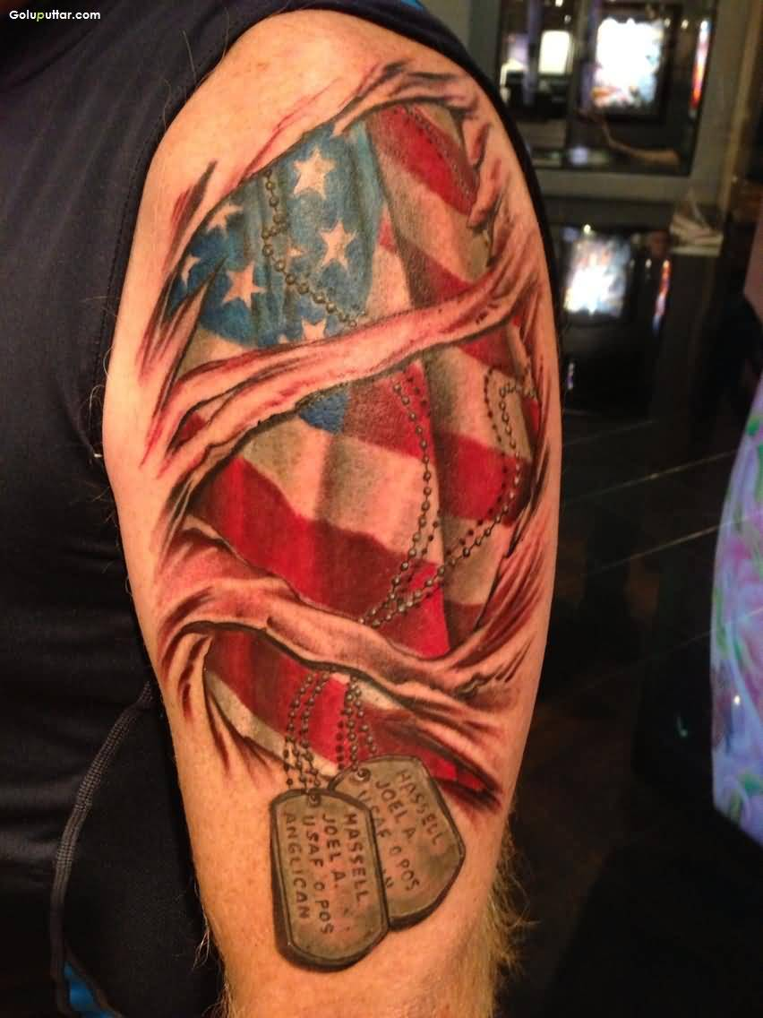 Mind Blowing Tattoo Of Army Flag With Dog Tag On Arm