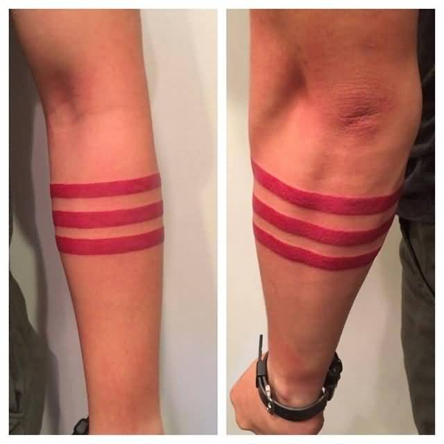 Nice red solid armband tattoo made by expert photos and for Solid armband tattoos