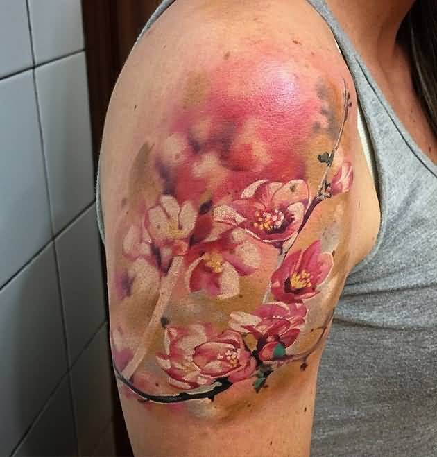 Realistic arm tattoo of red flower for women photos and for Flower tattoo arm