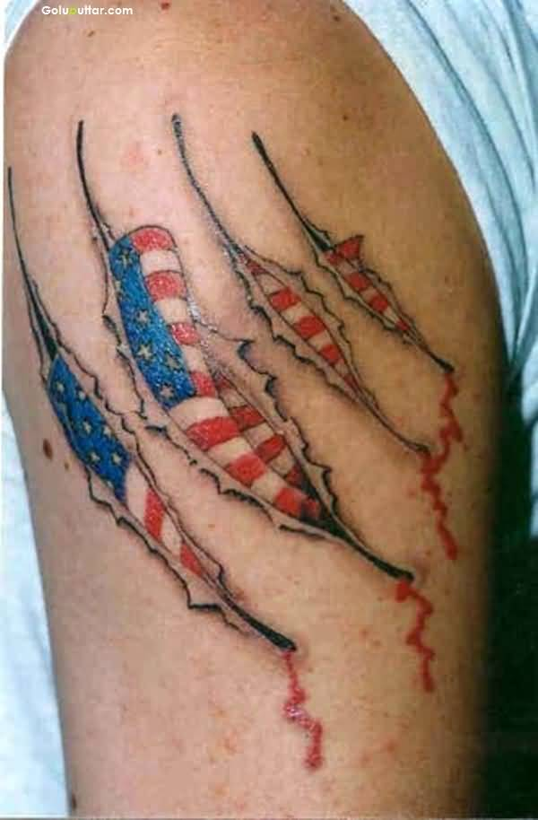 Realistic Ripped Skin And US Army Flag Tattoo Design