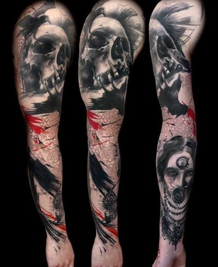 Scary 3D Skull Face And Crow Tattoo On Man's Sleeve
