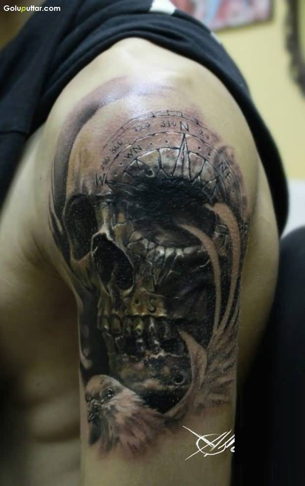 1abfff46662fe Scary 3d Skull Tattoo Design On Man's Upper Arm | Goluputtar