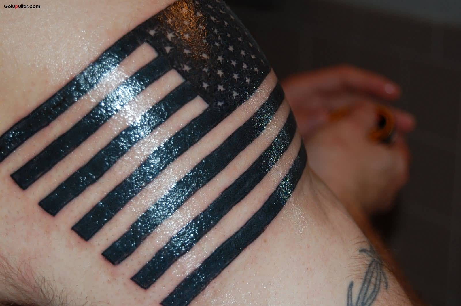 Sleeve Decorated With Traditional Black Army Flag Tattoo