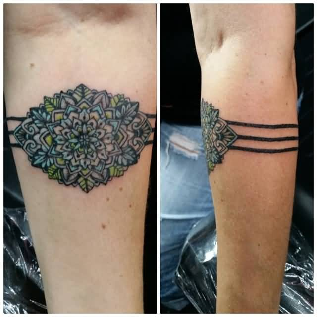 Traditional Flower Armband Tattoo On Lower Side