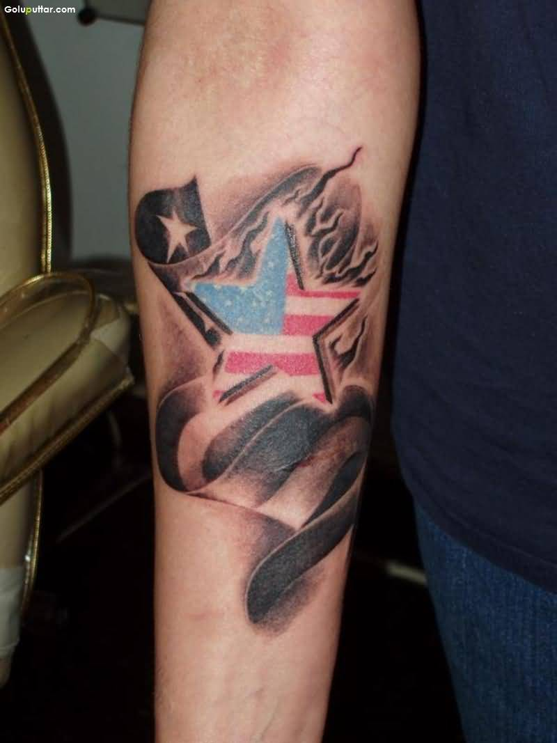 Unique Tattoo Of US Army Flag And Star On Arm