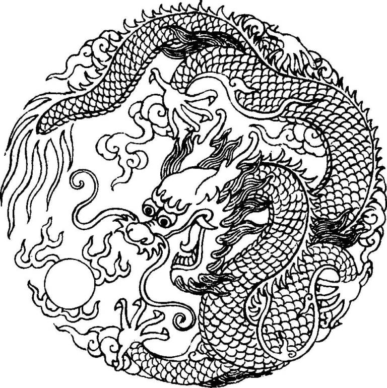Amazing Asian Dragon Tattoo Stencil Image