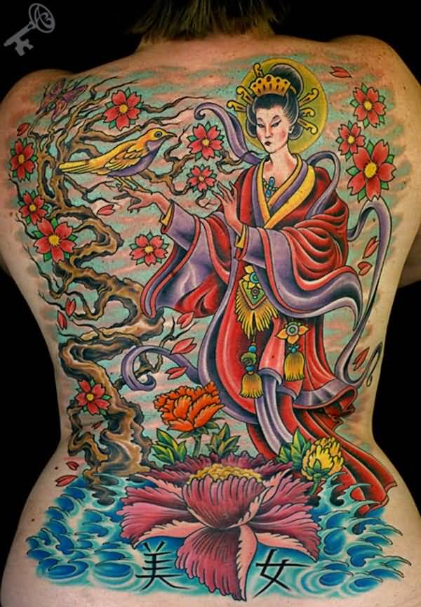 Colorful Asian Female Tattoo Made by Expert On Back