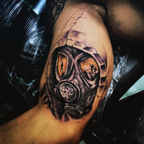 Custom Made Army Mask Tattoo Design On Biceps