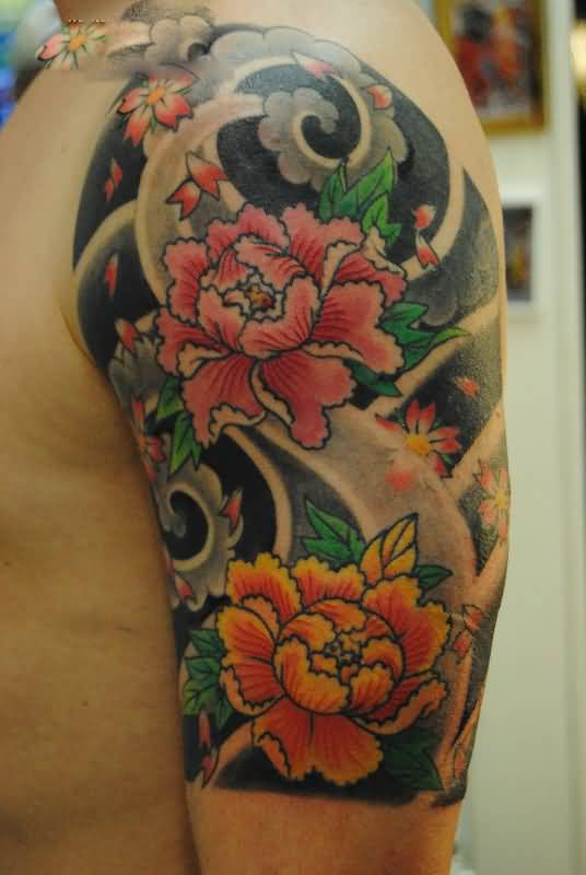 Custom Made Asian Lotus Flower Tattoo On Sleeve Goluputtar