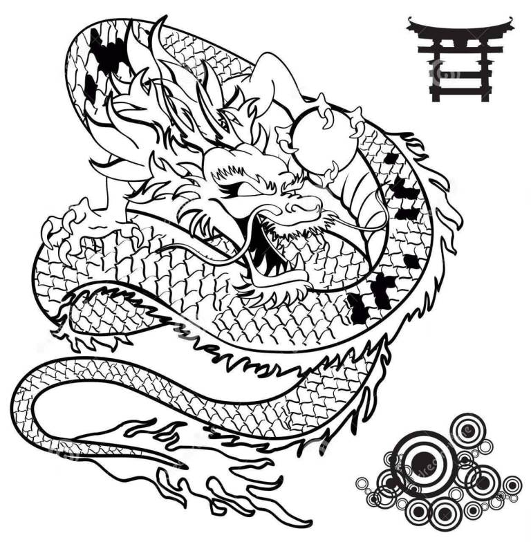 Impressive Asian Dragon Tattoo Stencil Picture