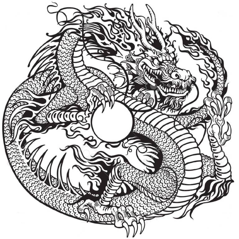 Latest Asian Dragon Tattoo Stencil Design
