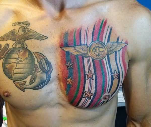 man show cute army chest tattoo design photos and ideas. Black Bedroom Furniture Sets. Home Design Ideas