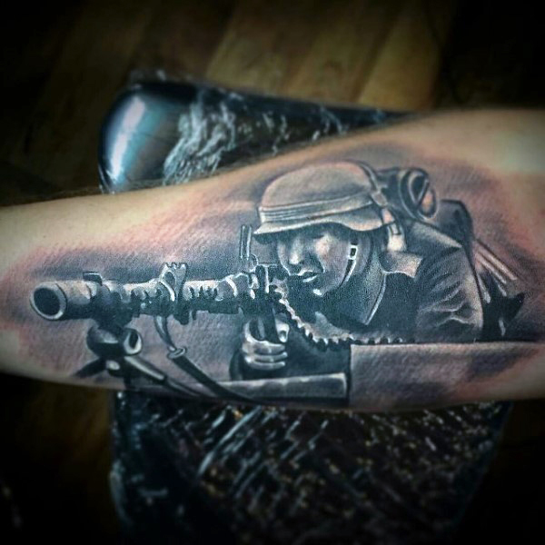 Men Arm Cover Up With Attractive Army Sniper Tattoo