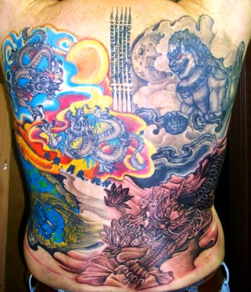 Men Show Best Asian Culture Tattoo On Back Ever