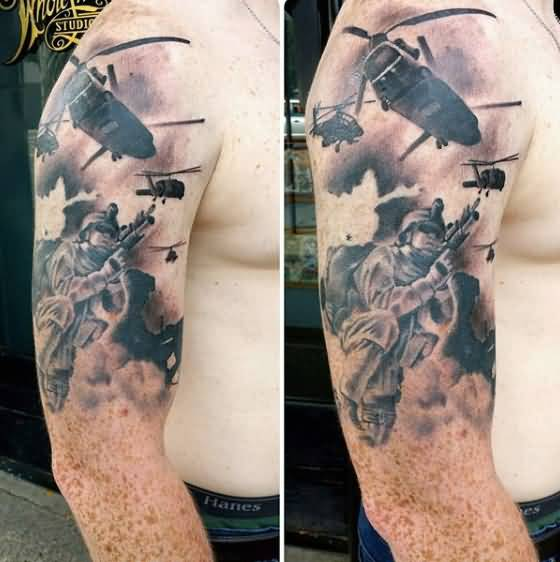 Men Sleeve Decorated With Innovative Army Helicopter And Sniper Tattoo