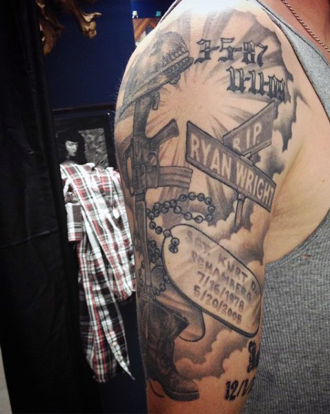 Outstanding Memorial Army Tattoo With Dog Tag