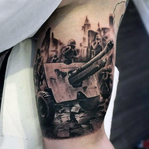 Realistic Army Tank Tattoo For Biceps