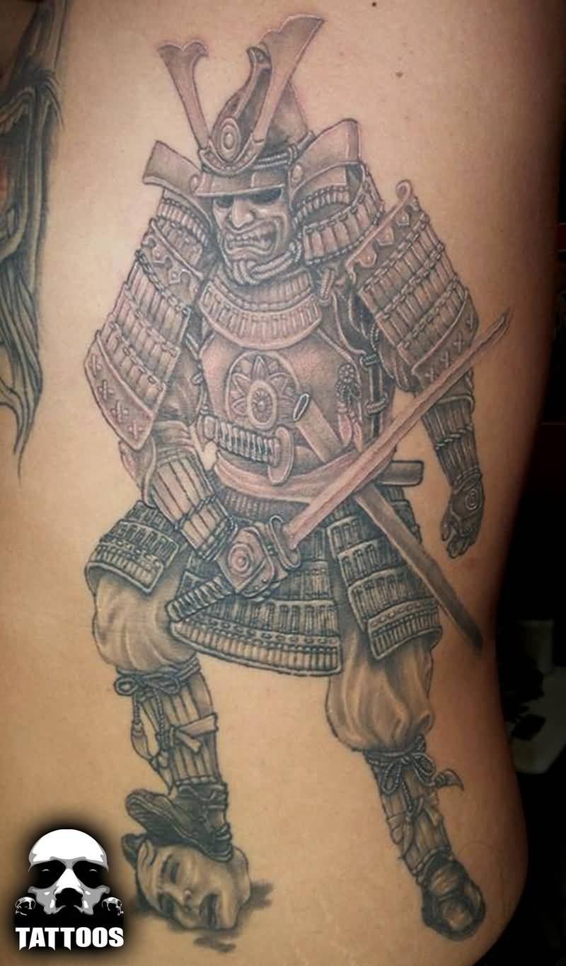 Superb Asian Warrior Tattoo Made On Ribs
