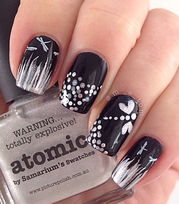 Lovely nail art idea for valentine goluputtar nail art in black color 18 prinsesfo Images
