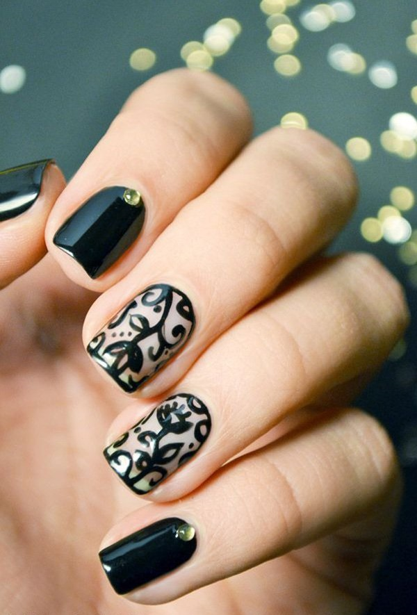 Funky Nail Art Lace Designs In Black, Photos and Ideas - Goluputtar.com