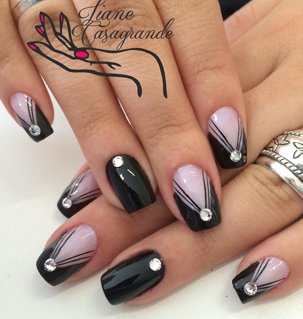 nail art in black color -24