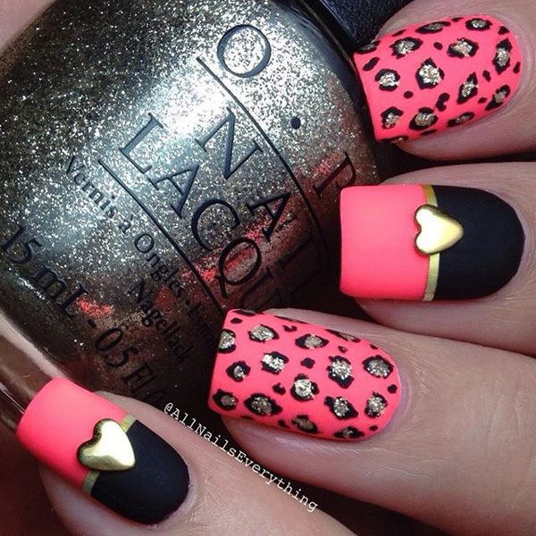 Pink And Black Nail Art Design For Valentine Photos And Ideas