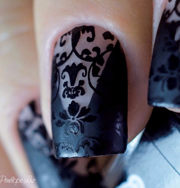 Lace nail art designs in black color goluputtar nail art in black color 9 prinsesfo Images