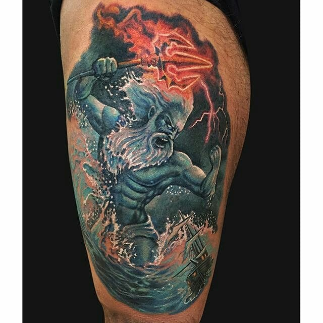 Attractive Fire Trishul In Angry Men Hand Tattoo For Thigh