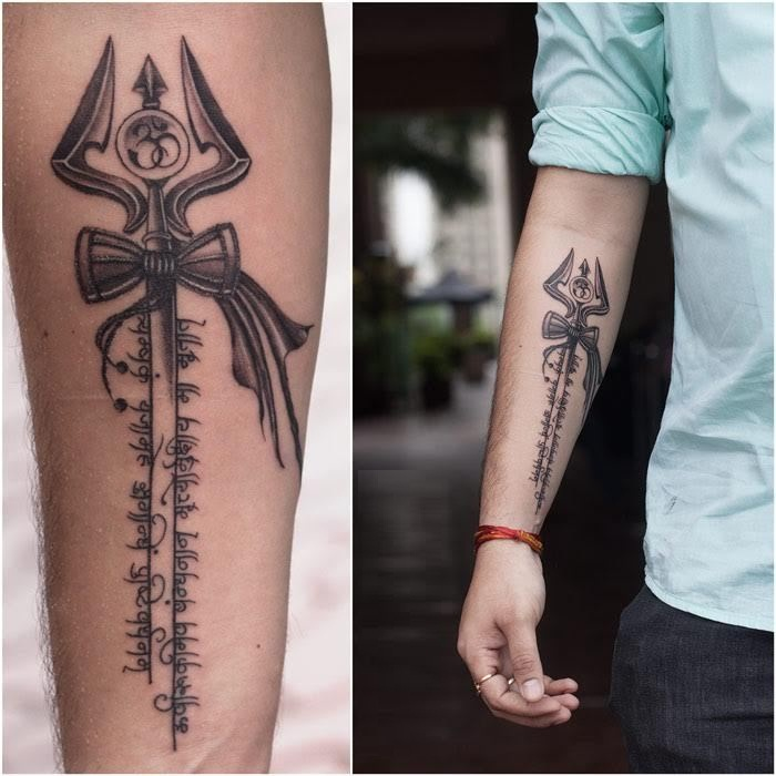 Attractive Trishul With Damroo And Om Sign Hindi Word Tattoo On Men Sleeve