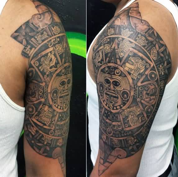beautiful arm tattoo of old aztec symbol photos and ideas. Black Bedroom Furniture Sets. Home Design Ideas