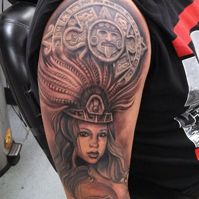 922d73c675969 Beautiful Aztec Girl Face Tattoo With Symbol On Men Shoulder ...