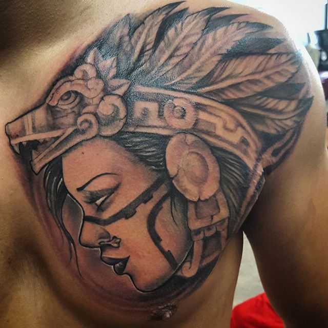 5801f9600d434 Beautiful Aztec Women Face Tattoo Made On Men Chest | Goluputtar