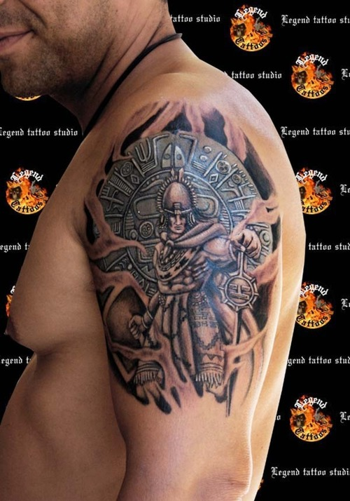 Black Ink Aztec King Tattoo On Arm With 3D Shield