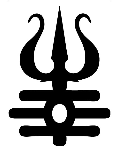 Black Ink Trishul Tattoo Stencil Design Image