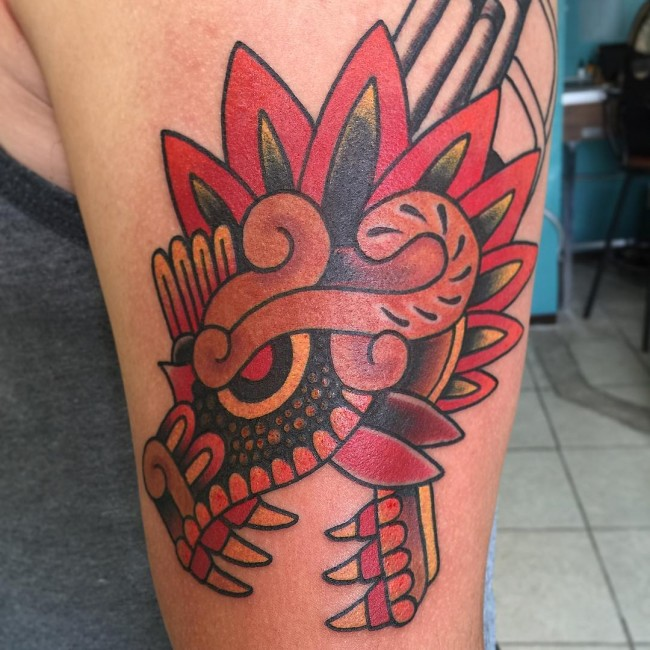 Colorful Aztec Arm Tattoo Deign For Cool Men