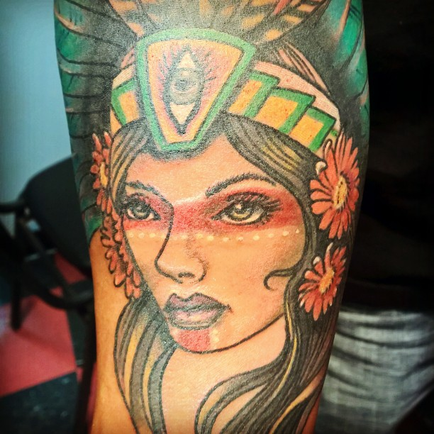 Colorful Aztec Girl Face Tattoo For Lower Arm