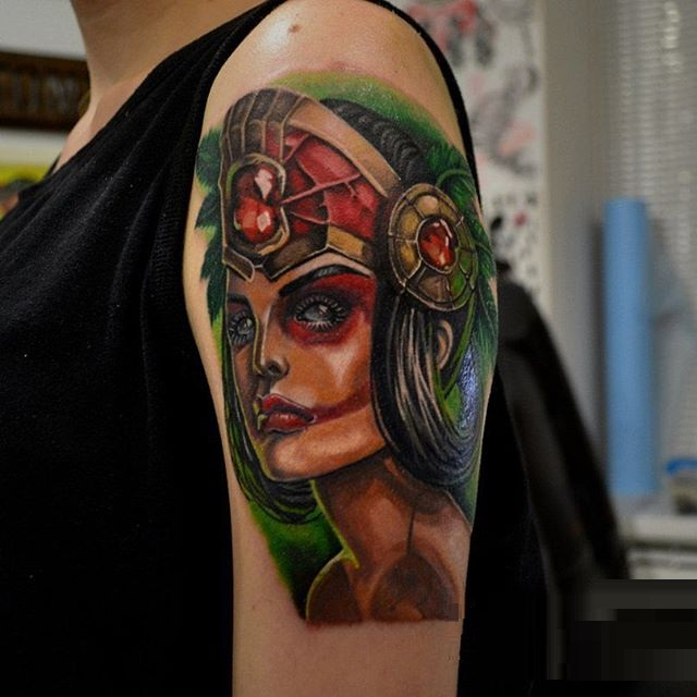 Colorful Aztec Women Face Tattoo Made On Cool Girl Sleeve