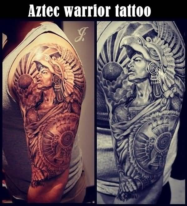 Crazy men show tribal aztec warrior tattoo on upper arm for Tribal warrior tattoos